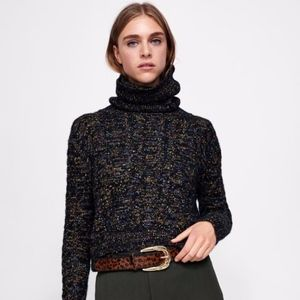 ZARA Cropped Cable-Knit Turtleneck L Sweater BNWT!